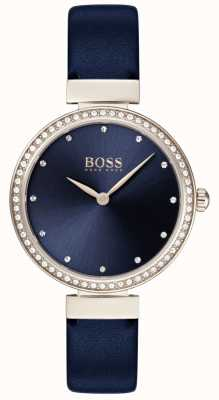 Boss | bracelet en cuir bleu dames | cadran bleu | 1502477