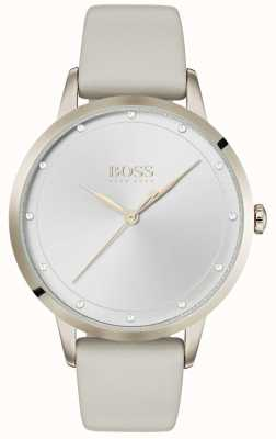 BOSS Twilight | bracelet en cuir gris pour femme | cadran argenté | 1502461