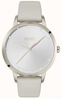 Boss | bracelet en cuir blanc dames | cadran blanc | 1502461