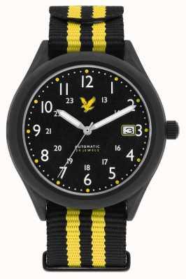 Lyle & Scott Bracelet furtif automatique noir et jaune avec bracelet nato pour homme LS-6006-01