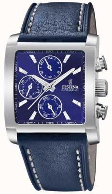 Festina | chronographe en acier inoxydable pour hommes | bracelet en cuir bleu | F20424/2