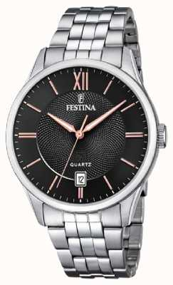 Festina | bracelet en acier inoxydable pour hommes | cadran noir / rose | F20425/6