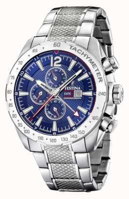 Festina | chronographe et double fuseau | cadran bleu | bracelet en acier F20439/2