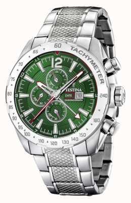 Festina | chronographe et double fuseau | cadran vert | bracelet en acier F20439/3