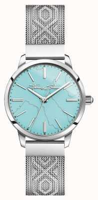 Thomas Sabo | acier inoxydable pour femmes | cadran turquoise | bracelet en maille | WA0343-201-215-33