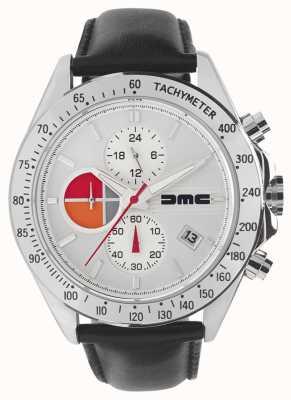 DeLorean Motor Company Watches Cuir argenté 1981 | cadran argenté | cuir noir | DMC-7