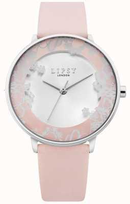 Lipsy | bracelet en cuir rose pour femme | cadran argenté sunray | LP658