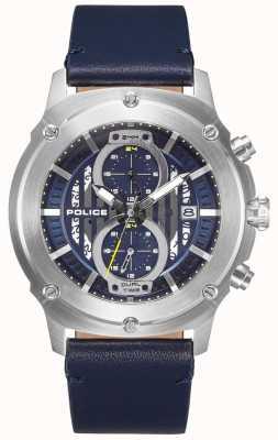 Police | Mens Lulworth | bracelet en cuir bleu | multi-dial bleu | 15917JS/03