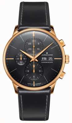 Junghans Chronographe Meister | bracelet en cuir noir | 027/7923.01