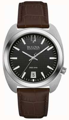 Bulova Cadran noir pour homme en cuir marron 96B253