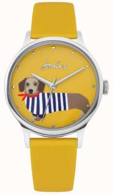 Joules | bracelet en caoutchouc jaune dames | cadran imprimé chien saucisse | JSL010Y