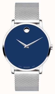 Movado | musée audacieux | bracelet en maille d'argent inoxydable | cadran bleu | 0607349