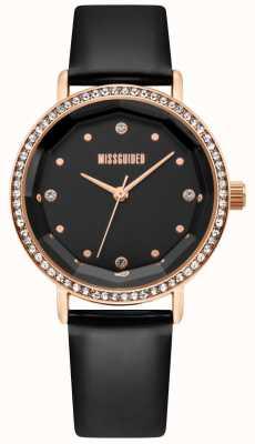 Missguided | bracelet en cuir noir pour femme | cadran noir | lunette de cristal | MG021BRG