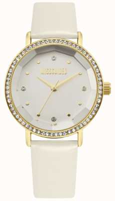 Missguided | bracelet en cuir blanc pour femme | cadran blanc | lunette de cristal | MG021WG