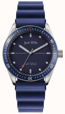 Jack Wills | Mens Mill Bay | bracelet en caoutchouc bleu | cadran bleu | JW015RBBL