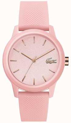 Lacoste | femmes 12-12 | bracelet en silicone rose | cadran rose | 2001065