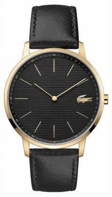 Lacoste | mens moon | bracelet en cuir noir | cadran noir | 2011004