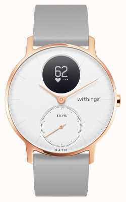 Withings Bracelet en acier avec bracelet en silicone, cadran blanc, or rose, or rose 36mm HWA03B-36WHITE-RG-S.GREY-ALL-INTER