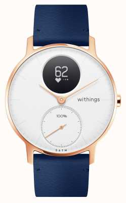 Withings Acier HR 36 mm cuir rose or bleu (+ bracelet silicone gris) HWA03B-36WHITE-RG-L.BLUE-ALL-INTER