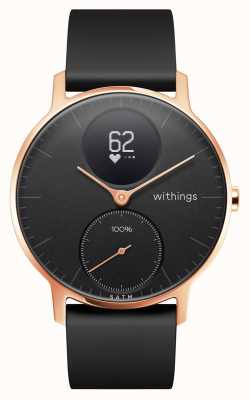 Withings Bracelet en silicone noir avec cadran noir et bracelet en or rose hr 36mm HWA03B-36BLACK-RG-S.BLACK-ALL-INTER