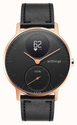 Withings Acier hr 36mm cuir doré noir (+ bande de silicone noire) HWA03B-36BLACK-RG-L.BLACK-ALL-INTER