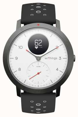 Withings Acier HR Sport 40 mm Cadran Blanc Bracelet en silicone noir HWA03B-40WHITE-SPORT-ALL-INTER