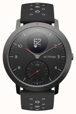 Withings Acier HR Sport 40 mm Cadran noir Bracelet en silicone noir HWA03B-40BLACK-SPORT-ALL-INTER