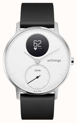 Withings Bracelet en silicone noir, cadran blanc, acier, hr 36mm HWA03-36WHITE-ALL-INTER