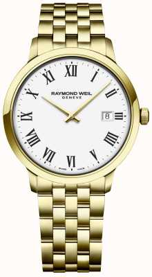 Raymond Weil | toccata mens | bracelet en acier inoxydable doré | cadran blanc 5485-P-00300