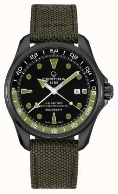 Certina Mens DS Action GMT Powermatic 80 Bracelet Vert Cadran Noir C0324293805100