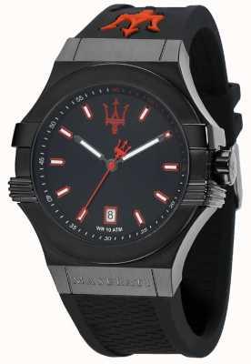 Maserati Potenza cadran noir bracelet en caoutchouc noir R8851108020