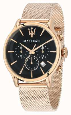Maserati Epoca chronographe cadran noir maille pvd or rose R8873618005
