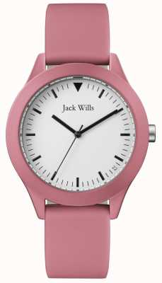 Jack Wills | bracelet en caoutchouc rose homme | cadran blanc | JW009JWPK