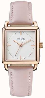Jack Wills | dames loring rose leatherstrap | cadran blanc | JW016WHPK