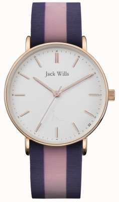 Jack Wills | bracelet silicium deux tons sandhill | cadran blanc | JW018PKBL