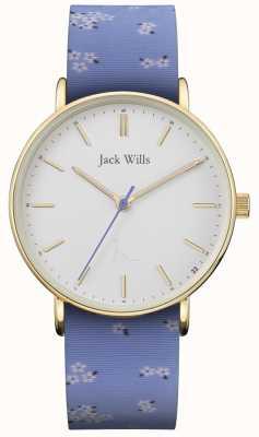 Jack Wills | bracelet en silicone bleu dames sandhill | cadran blanc | JW018FLBL