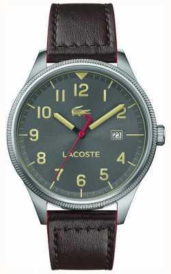 Lacoste | mens continental | bracelet en cuir marron | cadran gris | 2011020