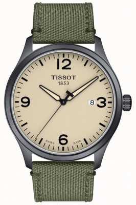 Tissot | mens xl | bracelet gris kaki | cadran beige | T1164103726700