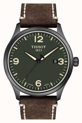 Tissot | mens xl | cadran vert | bracelet en cuir de vachette estampé brun | T1164103609700
