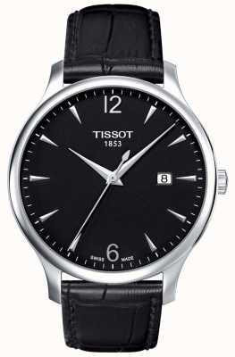 Tissot | mens traditionnel | bracelet en cuir noir | cadran noir | T0636101605700
