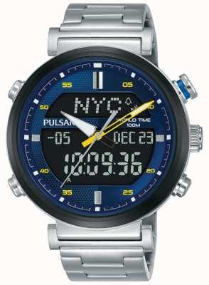 Pulsar Cadran bleu analogique numérique en acier inoxydable pour homme PZ4049X1