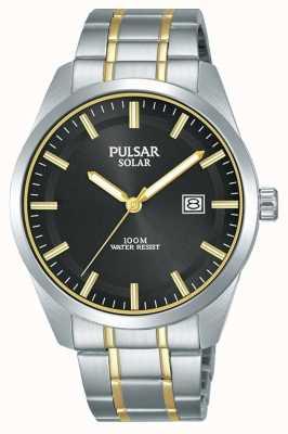 Pulsar Mens solaire | bracelet en acier inoxydable deux tons | cadran noir PX3169X1