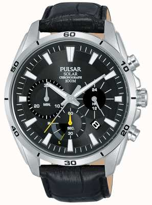 Pulsar Bracelet en cuir noir cadran noir pour homme PZ5061X1