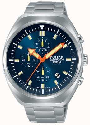 Pulsar Bracelet en acier inoxydable avec cadran bleu pour homme PM3085X1