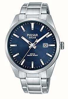 Pulsar Bracelet acier inoxydable cadran bleu solaire pour homme PX3181X1