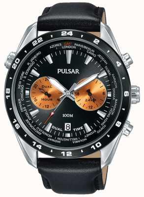 Pulsar Double cadran noir bracelet en cuir noir pour homme PY7015X1