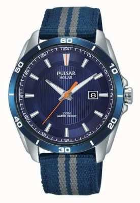 Pulsar Bracelet en nylon bleu pour homme avec cadran bleu solaire PX3177X1