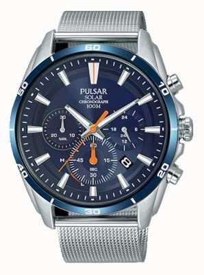 Pulsar Bracelet résille solaire pour homme avec cadran bleu PZ5085X1