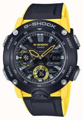 Casio | garde de noyau de carbone g-shock | bracelet noir jaune | GA-2000-1A9ER