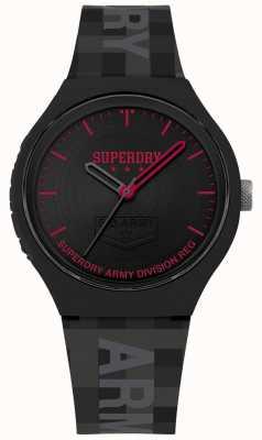 Superdry | mens urbain xl | bracelet en silicone gris | cadran noir | SYG251B